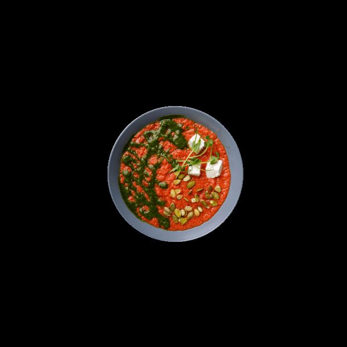 Гаспачо из спелых томатов с сыром Фета